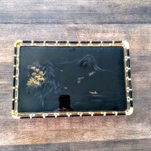 Vintage Mid-Century Black Lacquer Japanese Tray